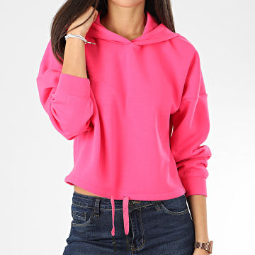Only - Sweat Capuche Crop Femme Neon Rose