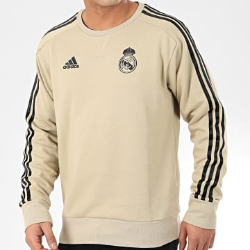 Sweat Crewneck A Bandes Real Madrid EI7468 Doré Noir