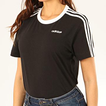 adidas - Tee Shirt Femme A Bandes Essential FN5776 Noir Blanc