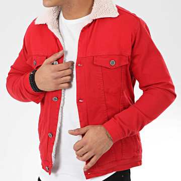 Black Needle - Veste Jean Col Mouton 5008 Rouge Beige