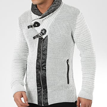 Gilet Col Amplified 580 Blanc Gris Chiné Noir
