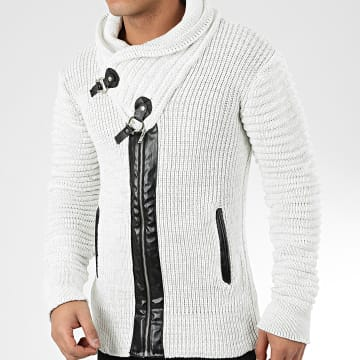 Gilet Col Amplified 575 Blanc Cassé Chiné