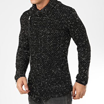 Gilet Zippé Col Amplified 520 Noir Blanc