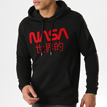 Sweat Capuche Japan Logo Noir Rouge