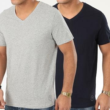 Tom Tailor - Lot de 2 Tee Shirts Col V 1008639 Bleu Marine Gris Chiné