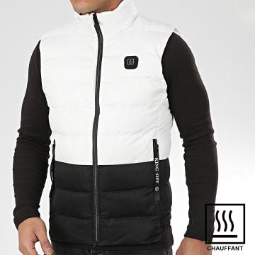 John H - Doudoune Sans Manches Chauffante 6613 Blanc Noir