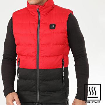 John H - Doudoune Sans Manches Chauffante 6613 Rouge Noir