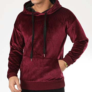 John H - Sweat Capuche Velours WY2019005 Bordeaux
