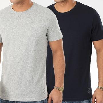 Lot de 2 Tee Shirts 1008638 Bleu Marine Gris Chiné