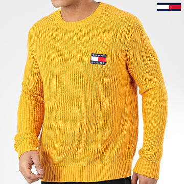 Tommy Jeans - Pull Tommy Badge 7418 Jaune Moutarde