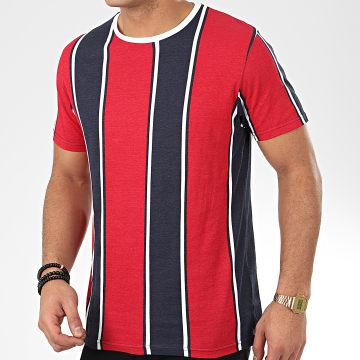 Brave Soul - Tee Shirt A Rayures Regent Rouge Bleu Marine Blanc