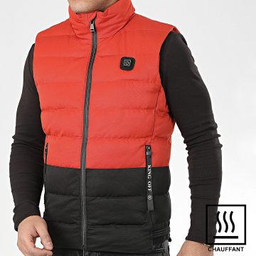 John H - Doudoune Sans Manches Chauffante 6613 Orange Noir