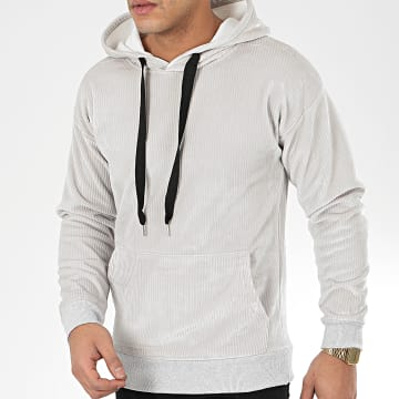 John H - Sweat Capuche Velours WY2019005 Gris Clair