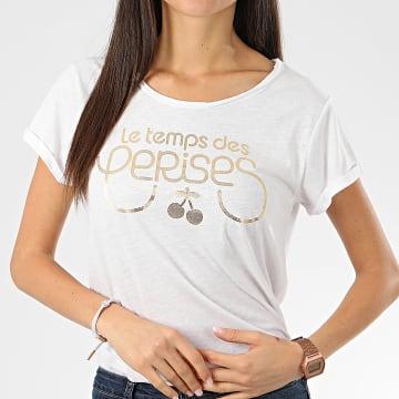 Tee Shirt Femme Basitrame Blanc Chiné Doré