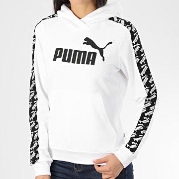 Puma - Sweat Capuche Femme A Bandes Amplified 581220 Blanc Noir