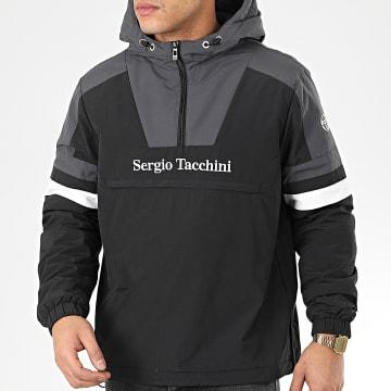 Sergio Tacchini - Veste Col Zippé Capuche Defoe 38366 Noir Gris Blanc
