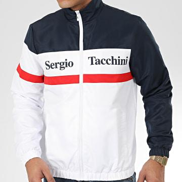 Sergio Tacchini - Veste Zippée Tricolore Foza 38720 Blanc Bleu Marine Rouge
