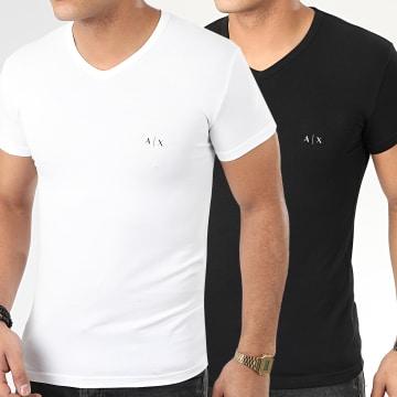 Lot De 2 Tee Shirts Col V 956004-CC282 Noir Blanc