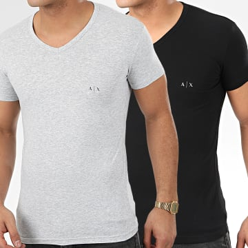 Armani Exchange - Lot De 2 Tee Shirts Col V 956004-CC282 Noir Gris Chiné