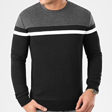 LBO - Sweat Crewneck Slim Fit Tricolore 959 Anthracite Blanc Noir