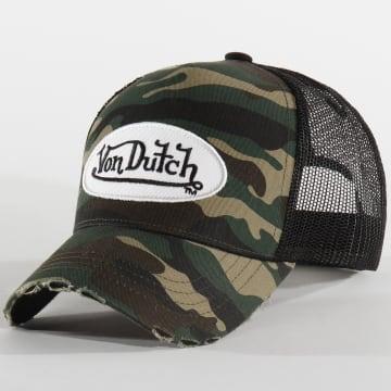 Von Dutch - Casquette Trucker Camouflage CAMO05 Vert Kaki Noir