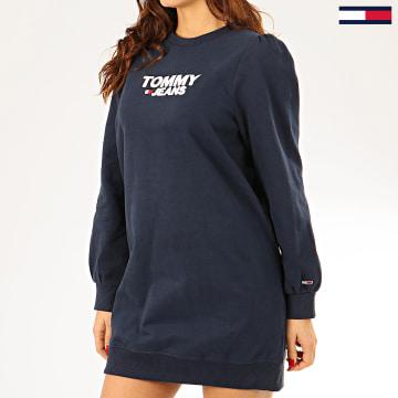 Tommy Jeans - Robe Sweat Crewneck Femme Heart Logo 7592 Bleu Marine