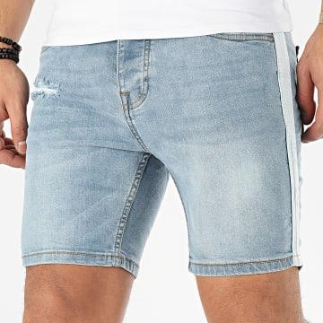 Short Jean A Bandes Memphis Bleu Wash