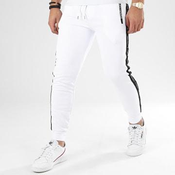 Project X - Pantalon Jogging A Bandes 2040064 Blanc Noir