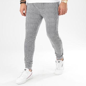 Project X - Pantalon A Carreaux 2040055 Blanc Noir