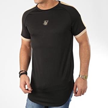 SikSilk - Tee Shirt Oversize A Bandes Inset Cuff Tech 15602 Noir Doré
