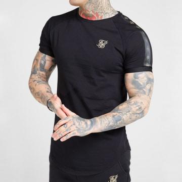 Tee Shirt Oversize A Bandes Raglan Tech 15855 Noir Doré