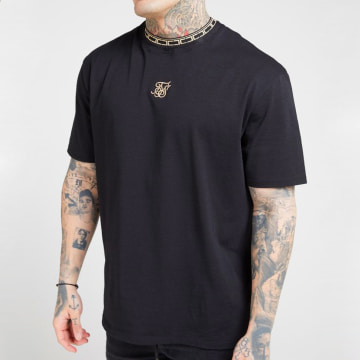 Tee Shirt Tape Collar Essential 15725 Noir Doré