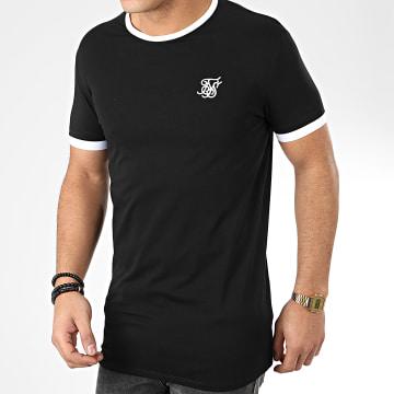 SikSilk - Tee Shirt Inset Straight Hem Ringer 15762 Noir