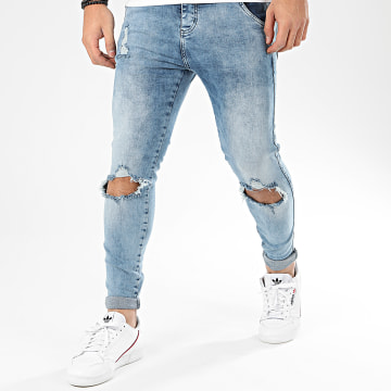Jean Skinny Distressed Slice Knees 16060 Bleu Wash