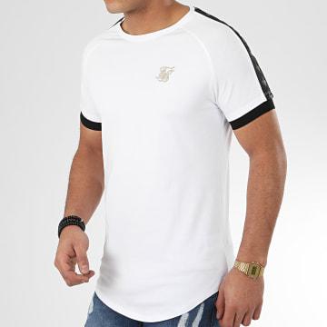 SikSilk - Tee Shirt Oversize A Bandes Raglan Tech 15856 Blanc Doré