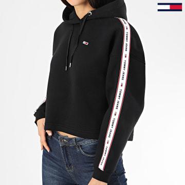 Tommy Jeans - Sweat Capuche Femme Crop A Bandes 7753 Noir