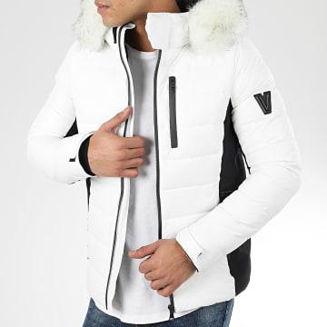 Doudoune Capuche Fourrure MZ8075 Blanc Noir