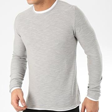 Blend - Tee Shirt Manches Longues 20709871 Gris Chiné Blanc