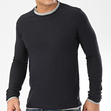Blend - Tee Shirt Manches Longues 20709871 Bleu Marine Gris Chiné
