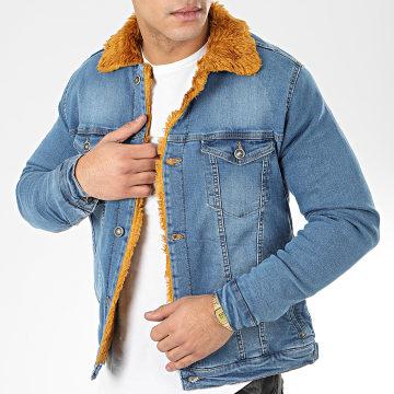 Veste Jean Fourrure 6740 Bleu Denim Camel