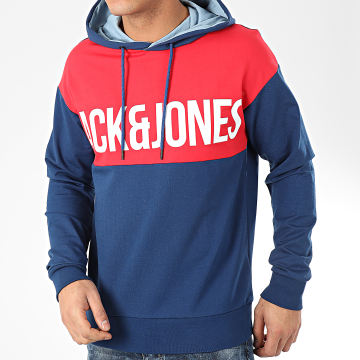 Jack And Jones - Sweat Capuche Henry Bleu Marine Rouge Blanc