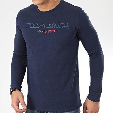 Teddy Smith - Tee Shirt Manches Longues Class Basic Bleu Marine