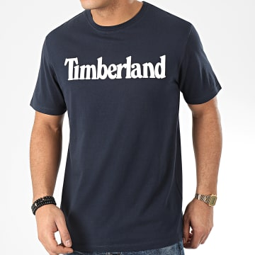 Timberland - Tee Shirt Brand Regular Lin 28DW Bleu Marine Blanc