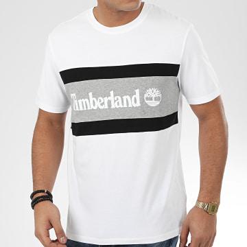 Timberland - Tee Shirt Cut And Sew Colorblock 22S1 Blanc Gris Chiné Noir