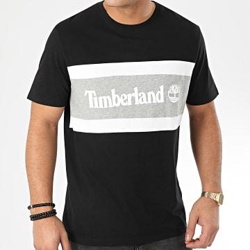 Timberland - Tee Shirt Cut And Sew Colorblock 22S1 Noir Gris Chiné Blanc
