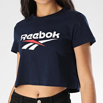 Reebok - Tee Shirt Femme Crop Classics Vector FK2755 Bleu Marine