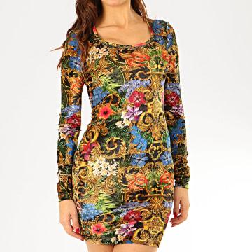 Versace Jeans Couture - Robe Femme Manches Longues D2HVA445-S0664 Doré Renaissance Floral