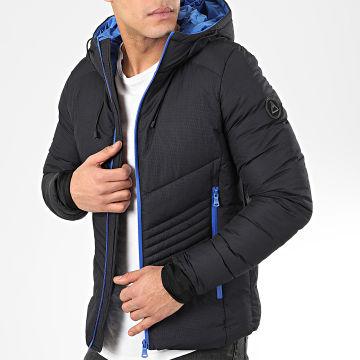Doudoune Capuche 9756 Noir Bleu Roi