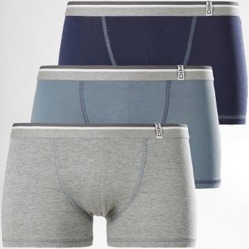 Dim - Lot De 3 Boxers D004X Bleu Clair Bleu Marine Gris Chiné