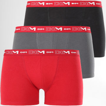 Lot De 3 Boxers D6596 Gris Anthracite Noir Rouge